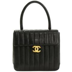 Chanel Vintage Black Lambskin Top Handle Kelly Style Satchel Evening Bag