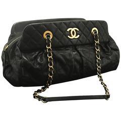 CHANEL 2012 Glitter Coated Leather Hobo Chain Shoulder Bag Black