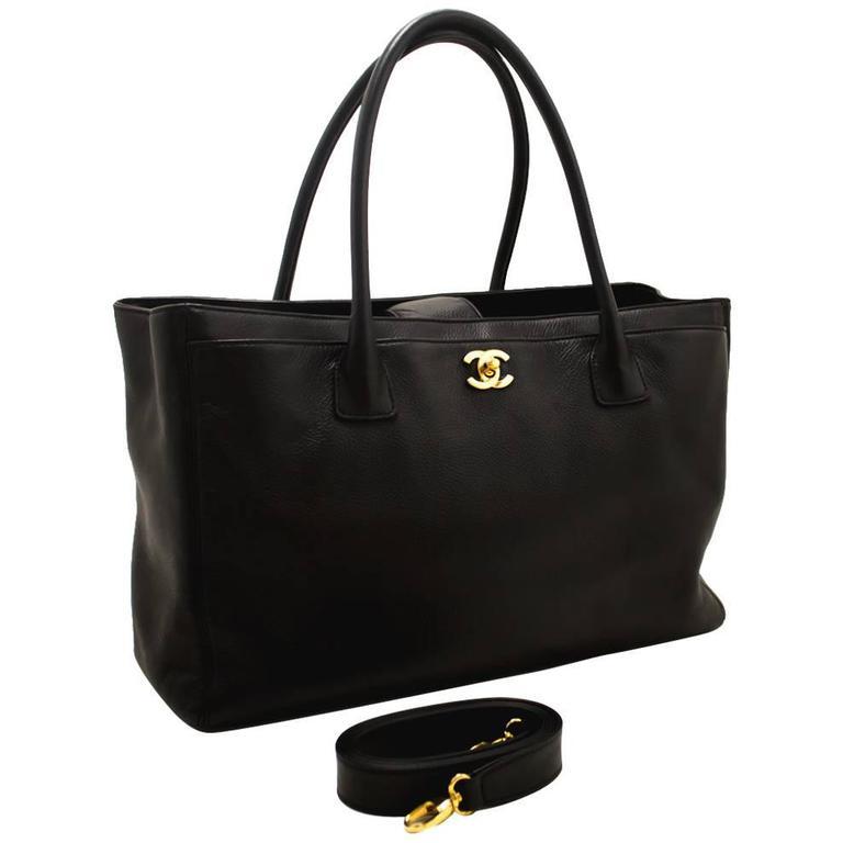 Chanel Executive Tote Caviar Shoulder Bag Black Gold Leather Strap For