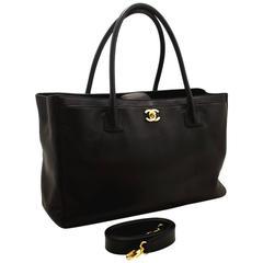 CHANEL Executive Tote Caviar Shoulder Bag Black Gold Leather Strap