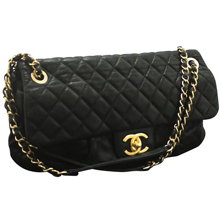 CHANEL Glitter Coated Leather Chain Shoulder Bag Black Quilted  For Sale