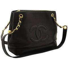 CHANEL Caviar Gold Chain Shoulder Bag Black Leather Zippered CC