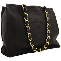 CHANEL Jumbo Large Big Chain Shoulder Bag Black Lambskin Leather