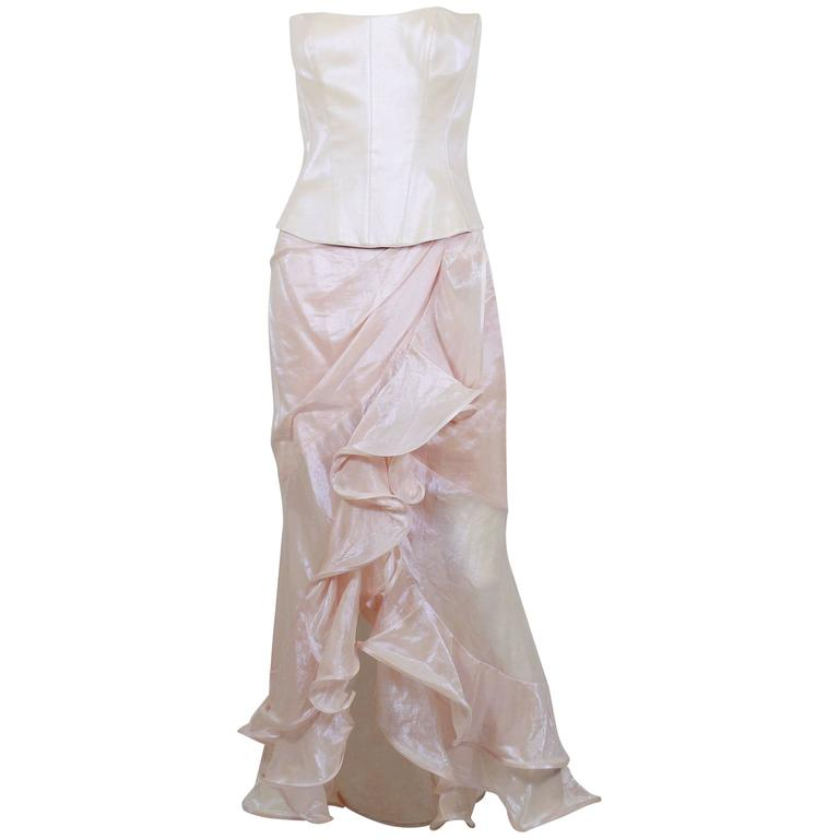 Thierry Mugler Couture Vintage Iridescent Pink Two Piece Suit For Sale