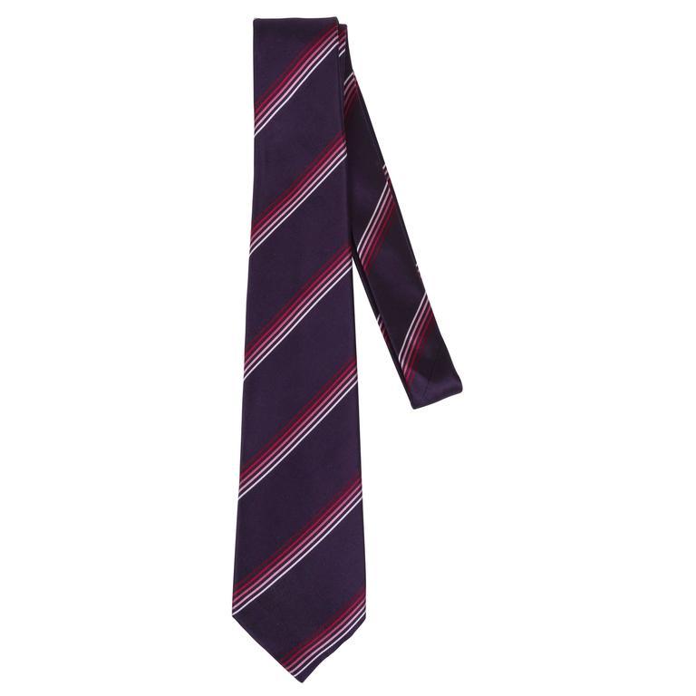 New Louis Vuitton Silk Violet Rouge Silk Tie For Sale