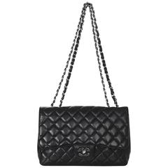 Chanel Black Quilted Caviar Leather Single Flap Jumbo Classic Bag