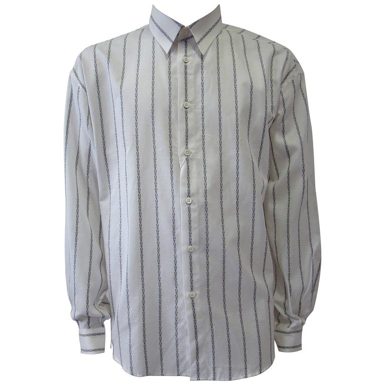 Gianni Versace Striped With Initials Printed Shirt