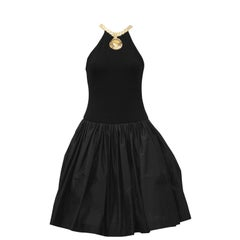 1980s Carolyne Roehm Black Cocktail Dress with Gold Roman Details