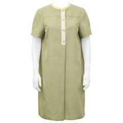 1980's Geoffrey Beene Sage Green Day Dress