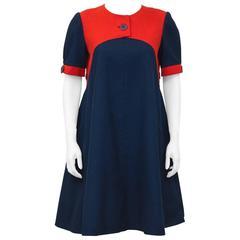 1980's Geoffrey Beene Navy Blue & Red Swing Dress