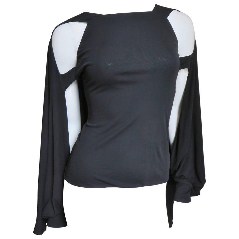 2000s Antonio Berardi Caped Cutout Sleeve Silk T-Shirt