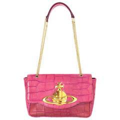 Vivienne Westwood Pink Croc Embossed Shoulder Bag