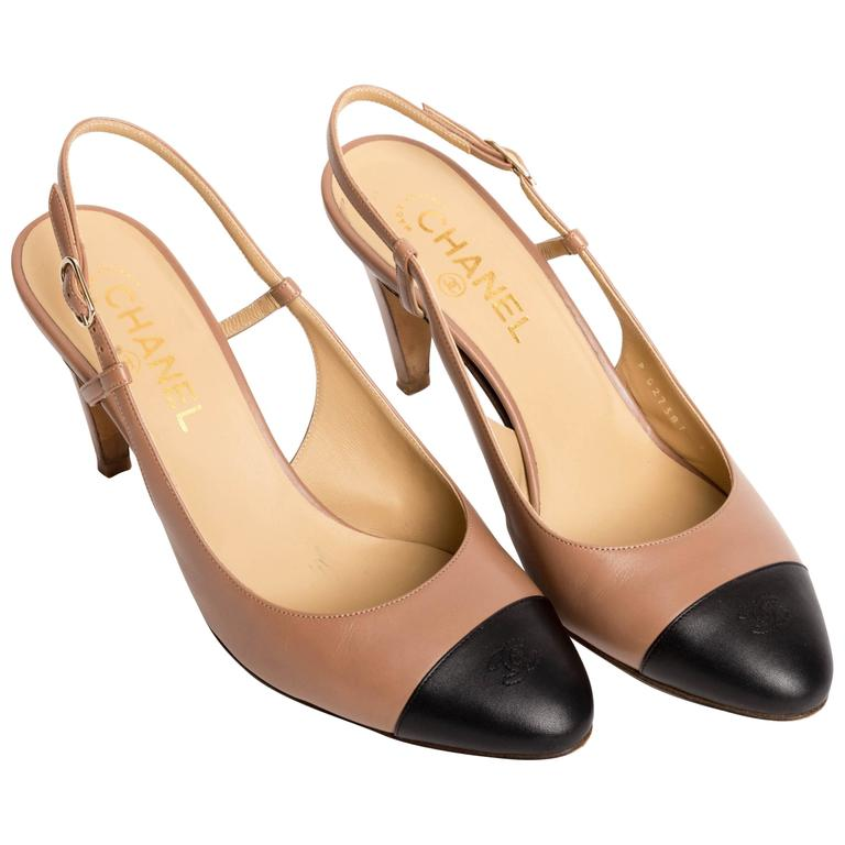 Chanel Black Strappy Shoes Heels Grosgrain