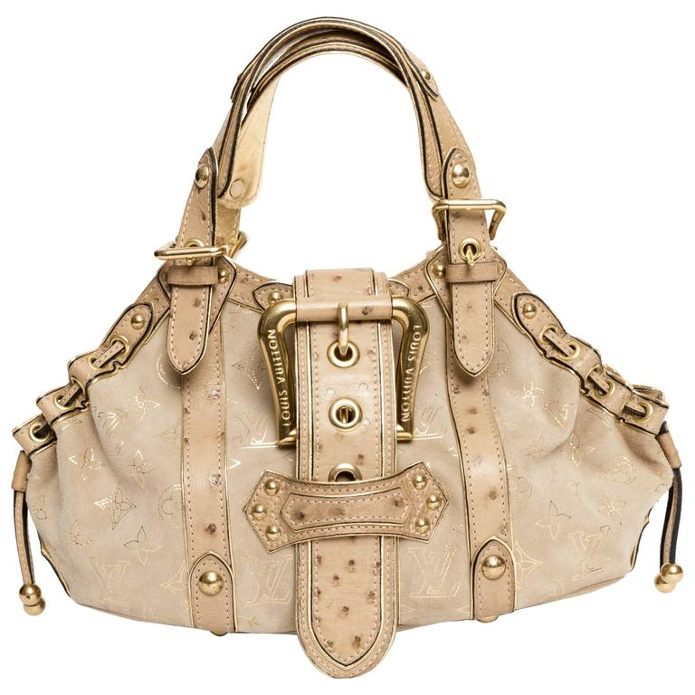 Louis Vuitton Limited Edition Ostrich and Suede Theda GM
