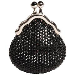 Judith Leiber Black Crystal Pill Box with Onyx Cabochon Clasp