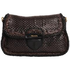 Limited Edition Prada Madras Woven Leather Shoulder Bag