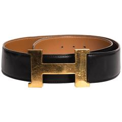 Hermes Large H Buckle with Tan/Navy Strap