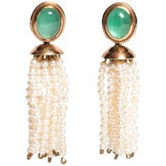 Cassandra Goad Chrysoprase, Gold and Pearl Tassel Earrings
