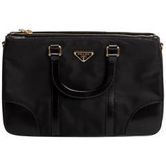 Prada Nylon Bag with Black Leather Top Handles and Strap