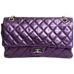 Chanel Purple Metallic Double Flap Reissue with Silver Hardware