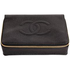 Chic Vintage Chanel Black Caviar Jewelry Case