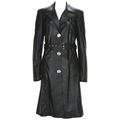 New Versace $7725 Quilted Black Soft Leather Women's Trench Coat with Belt