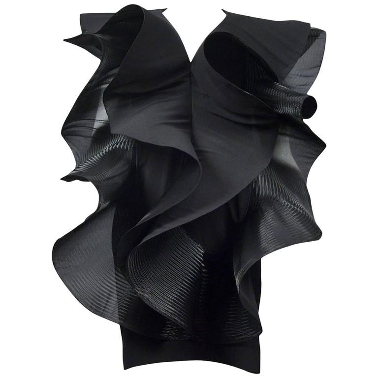 Pierre Cardin Couture Architectural Ruffle Dress For Sale