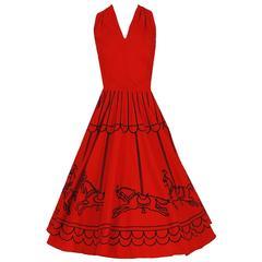 1950's Carousel Horses Novelty Print Red Cotton Mock-Halter Circle Skirt Dress