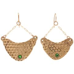 Bronze Swarovski Green Wasp Nest Earrings