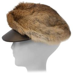60s Cap Leather and Rabbit Fur
