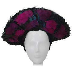 40s Raven Feather Fat Fashion Hat