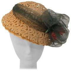 30s Straw Ribbon Hat with Tulle Band