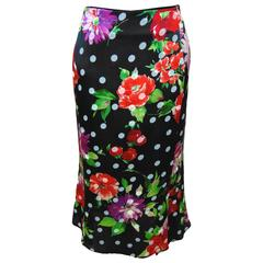 Chic Emanuel Ungaro Paris Black Silk Skirt with Floral Print Size S