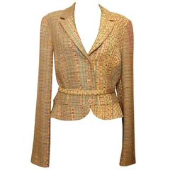 Christian Lacroix Cropped Tweed Jacket with Matching Belt Size 42