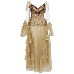 Automne-Hiver 1980 Christian Dior Paris Numbered Lace Gown with Stole