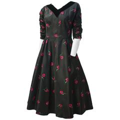 50s Poppy Dress with Velvet Collar