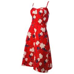 60s Red Floral Sun Dress