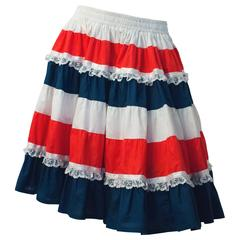 60s Red White and Blue Ruffle Skirt with Lace Trim