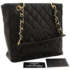 CHANEL Caviar Chain Shoulder Bag Shopping Tote Black Quilted