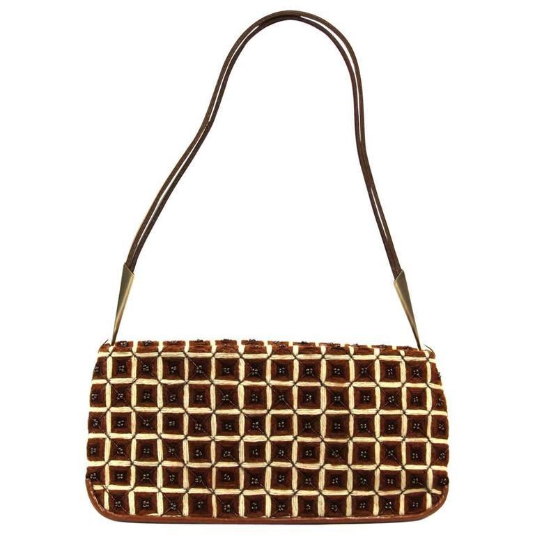1stdibs 2000s Bottega Veneta Brown And Beige Wool Hand Bag CLOf2Iemh