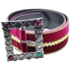 Vintage Velvet and Leather Belt from Yves saint Laurent.