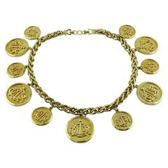 Christian Dior Vintage Gold Toned Signature Coin Charm Necklace