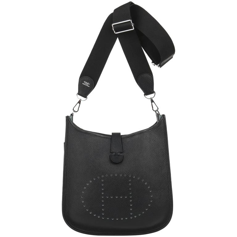 Hermes Evelyne Iii 29 Pm Black Clemence Leather Perforated H Shoulder Bag