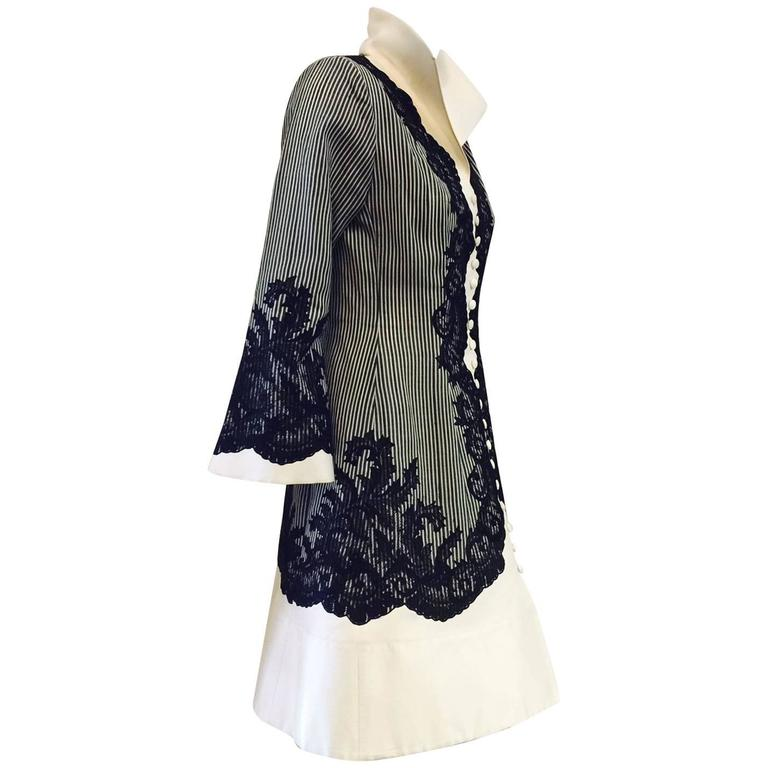 Vintage Jacques Fath Fitted Silk Evening Coat Dress With Lace Overlay 1