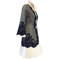 Vintage Jacques Fath Fitted Silk Evening Coat Dress With Lace Overlay