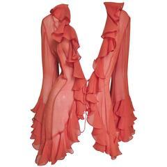 1980s Norma Kamali Silk Ruffle Tie Top