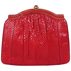Judith Leiber Red Snakeskin Clutch with Carnelian Clasp