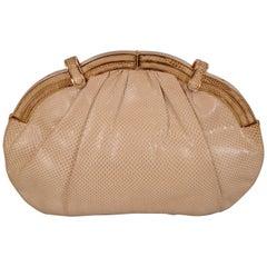 Judith Leiber Beige Karung Convertible Clutch Bag
