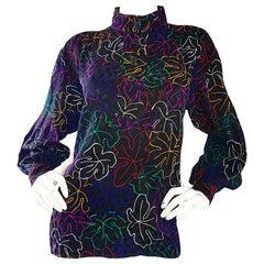 1970s YVES SAINT LAURENT Silk Leaf Print Vibrant Vintage 70s Blouse Top