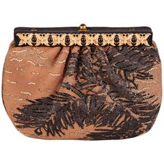 Judith Leiber Beaded Silk Faille Clutch with Jeweled Butterfly Frame